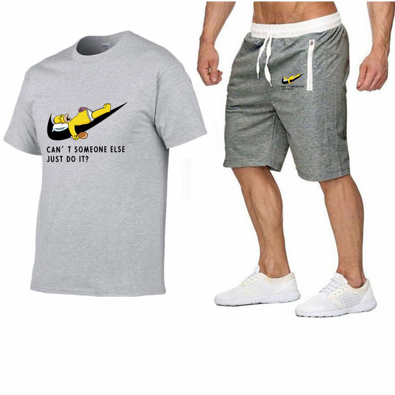 Image 3 - 2019 Men Fashion Summer Brand t shirt 100%cotton Sporting tops TrackSuit suit tees+casual shorts two Pieces Set mens clothing-in Men's Sets from Men's Clothing