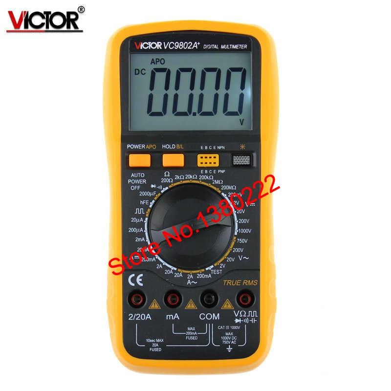 ФОТО  Digits Multimeter  2000 Counts Victor VC9802A+ AC DC Voltmeter Capacitance Resistance digital Ammeter Multitester