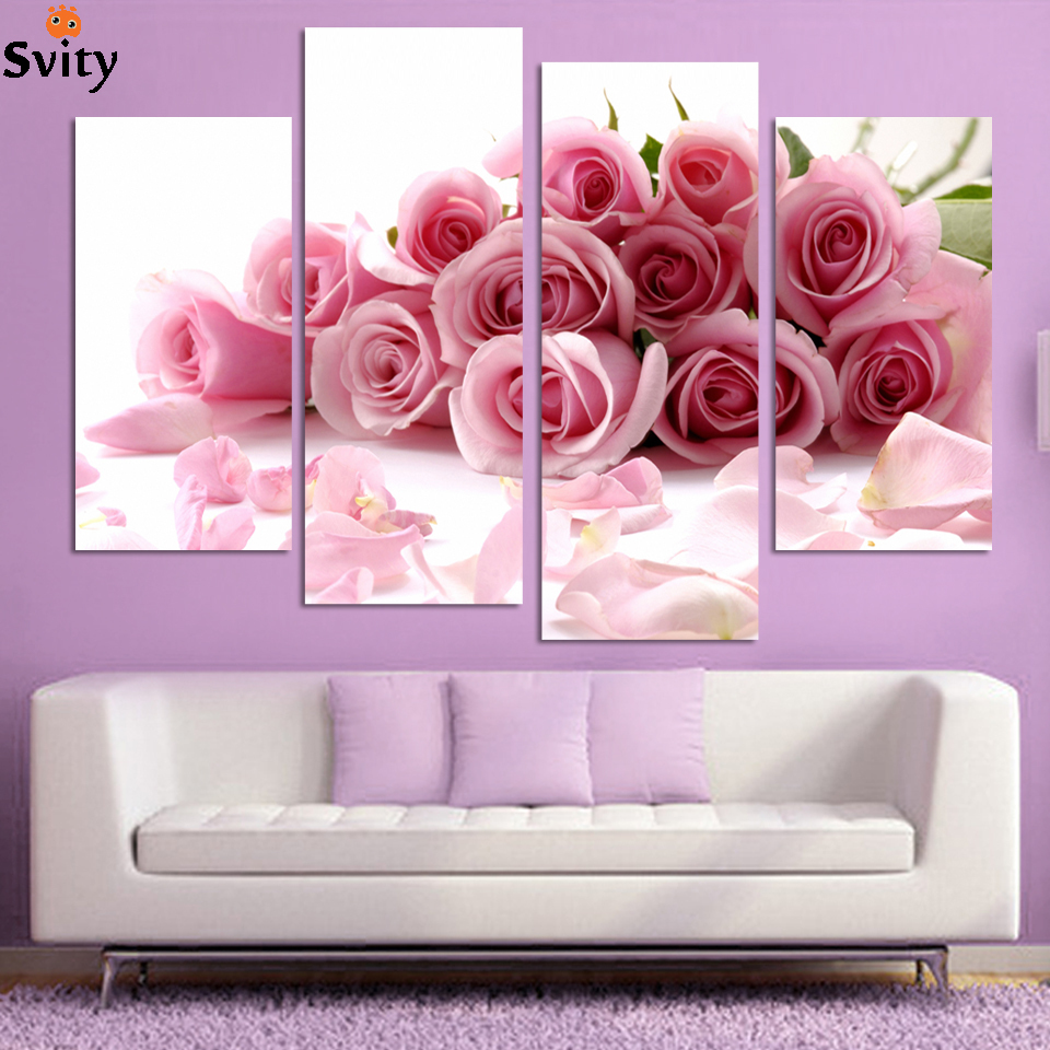 Direct factory price modern wall art decor 4 piece pink for Pink wall art