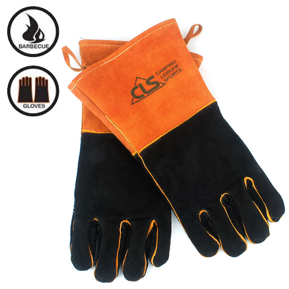 Outdoor BBQ Gloves Barbecue Oven Multi Purpose Leather High Temperature Fireproof Heat Resistant Thickening Long Safety Gloves