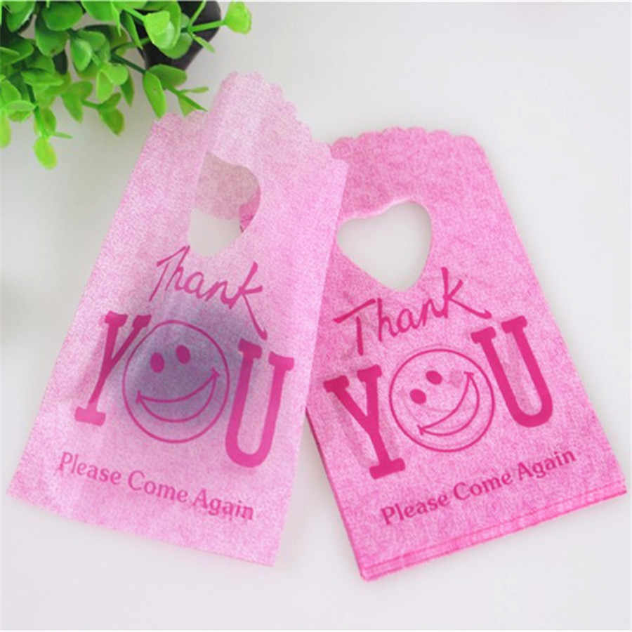 2015 Hot Sale New Style Wholesale 50pcs/lot 9*15cm Rose Red Thank You Mini Plastic Gift Bags Jewelry Packaging With Smile Face