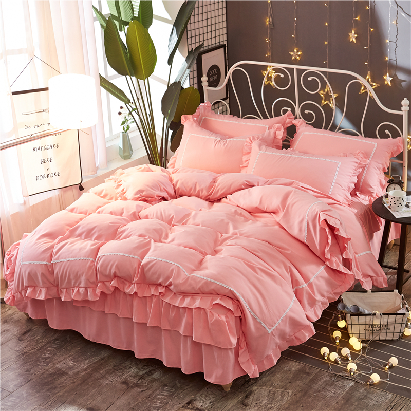 Pink Lace Princess Wedding Bedding sets High quality Home Textile Queen King size fashion Duvet cover set Bed skirt PillowcasesPink Lace Princess Wedding Bedding sets High quality Home Textile Queen King size fashion Duvet cover set Bed skirt Pillowcases