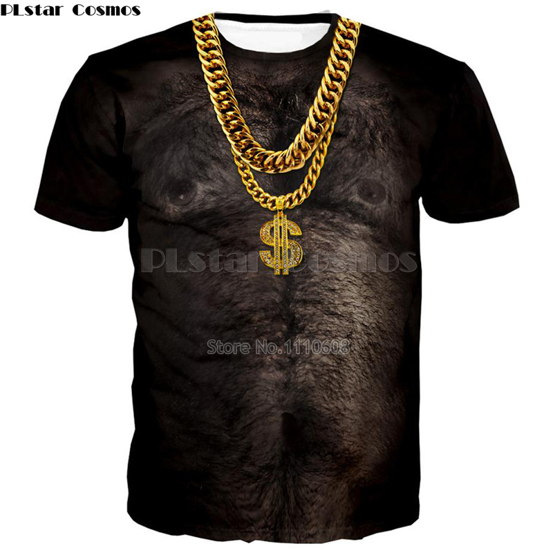 new fashion Hairy Chest Pale Gold Chain Men muscle man 3d graphics 3D Funny T Shirt print Harajuku Casual Tee Shirts Tops Plus