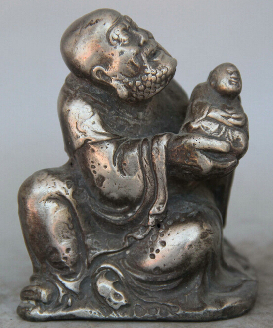 R0717 Details About Old Chinese Buddhism Bronze Silver Seat Arhat Nazarite Buddha Monks Son Statue (B0328)