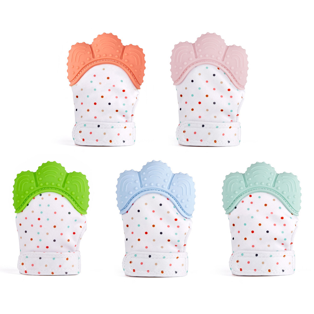 1pcs Silicone Teether Baby Pacifier Glove Teething Chewable Newborn Nursing Teether Beads Infant BPA Free Pastel 5 Colors