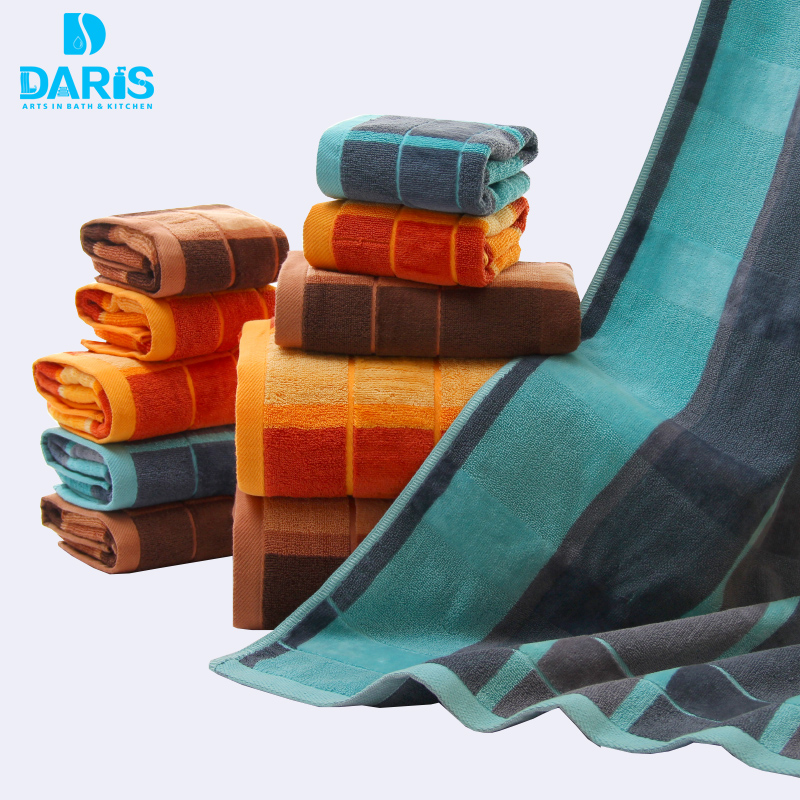 DARIS 3pcs/Lot Bath Towel Set 34*34cm 34*74cm 70*140cm 100% Cotton Bath Towel Piece Set  ...