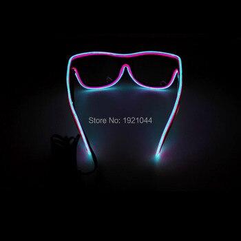 светятся в темных украшениях | Для отдыха и вечеринок DIY украшения Оптовая 100 шт. Light Up EL Провода Очки Glow-In-The Темная ночь Вечеринка празднование очки