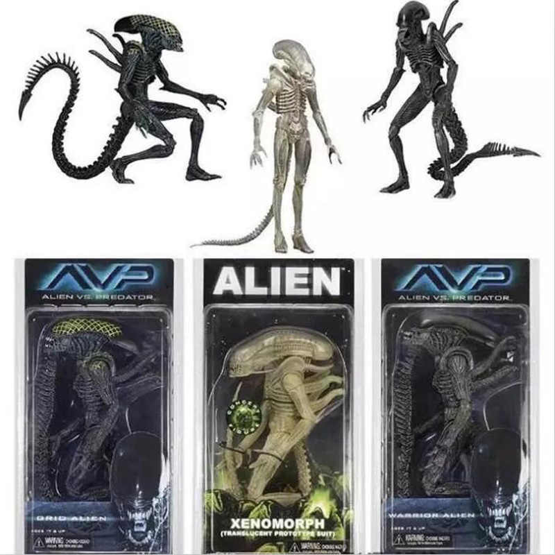 NECA Aliens vs Predator AVP Alien Xenomorph Seri Grid Tembus Prototipe Sesuai Prajurit Alien Action Figure Model Toy 18 cm