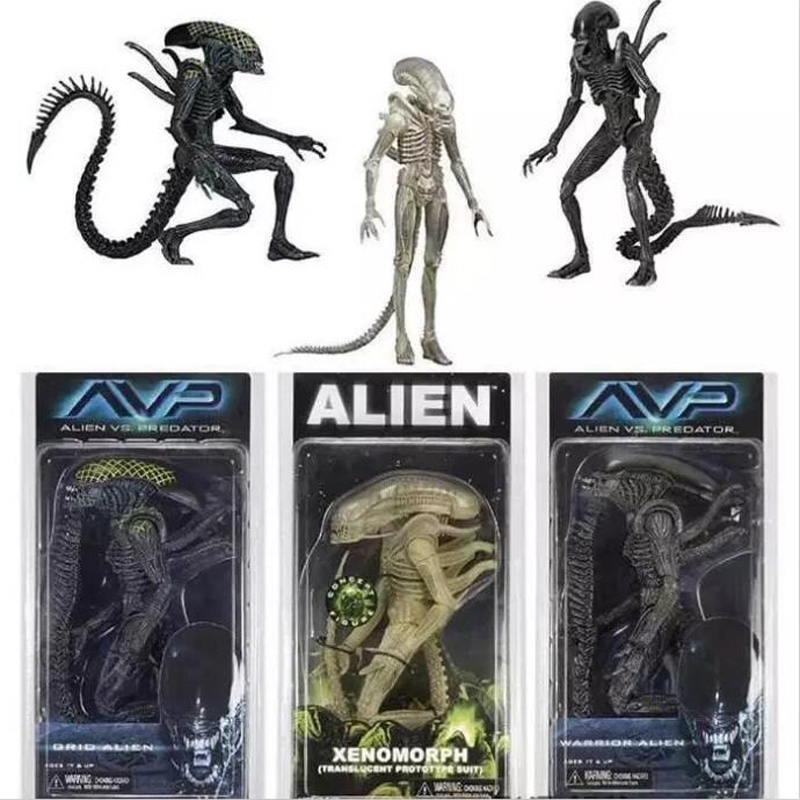 NECA Aliens vs Predator AVP Série Grille Alien Xenomorph Translucide Prototype Costume Guerrier Alien Action Figure Modèle Jouet 18 cm
