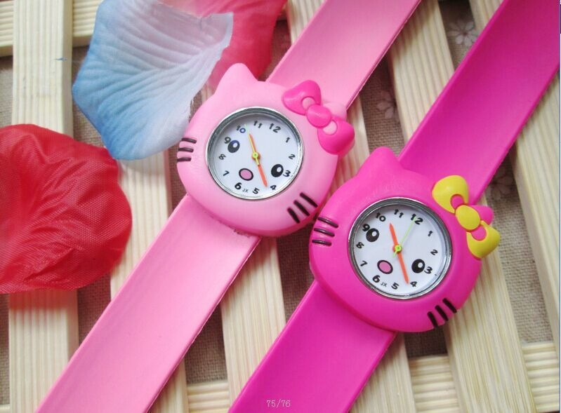 1pcs/lot ! Hot Pink/rose/Color Hello Kitty Slap Watch Girls Cartoon kids Watch Silicone Rubber Wrist Watch стоимость