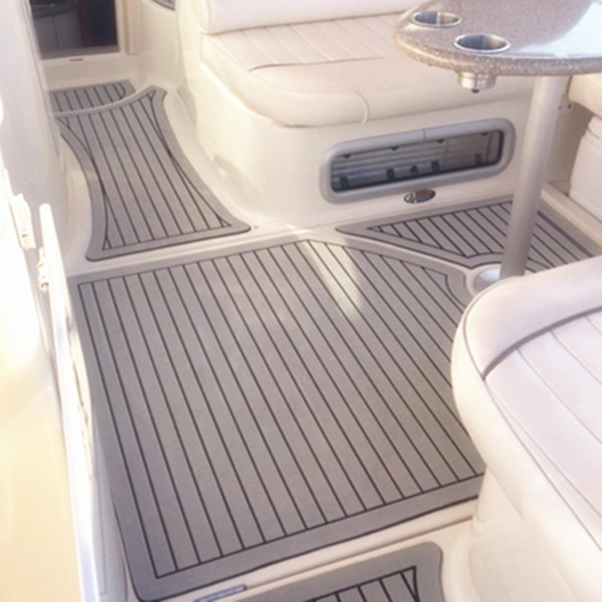 Kiwarm newest light gray and black marine flooring faux teak eva foam boat decking sheet foam floor mat art decor 2400x600x6mm
