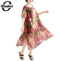 Oladivi Big Plus Size Women Printed Midi Chiffon Dress Summer 2019 Bohemian Beach Wear Ladies Casual Boho Dresses Tunic Vestidio