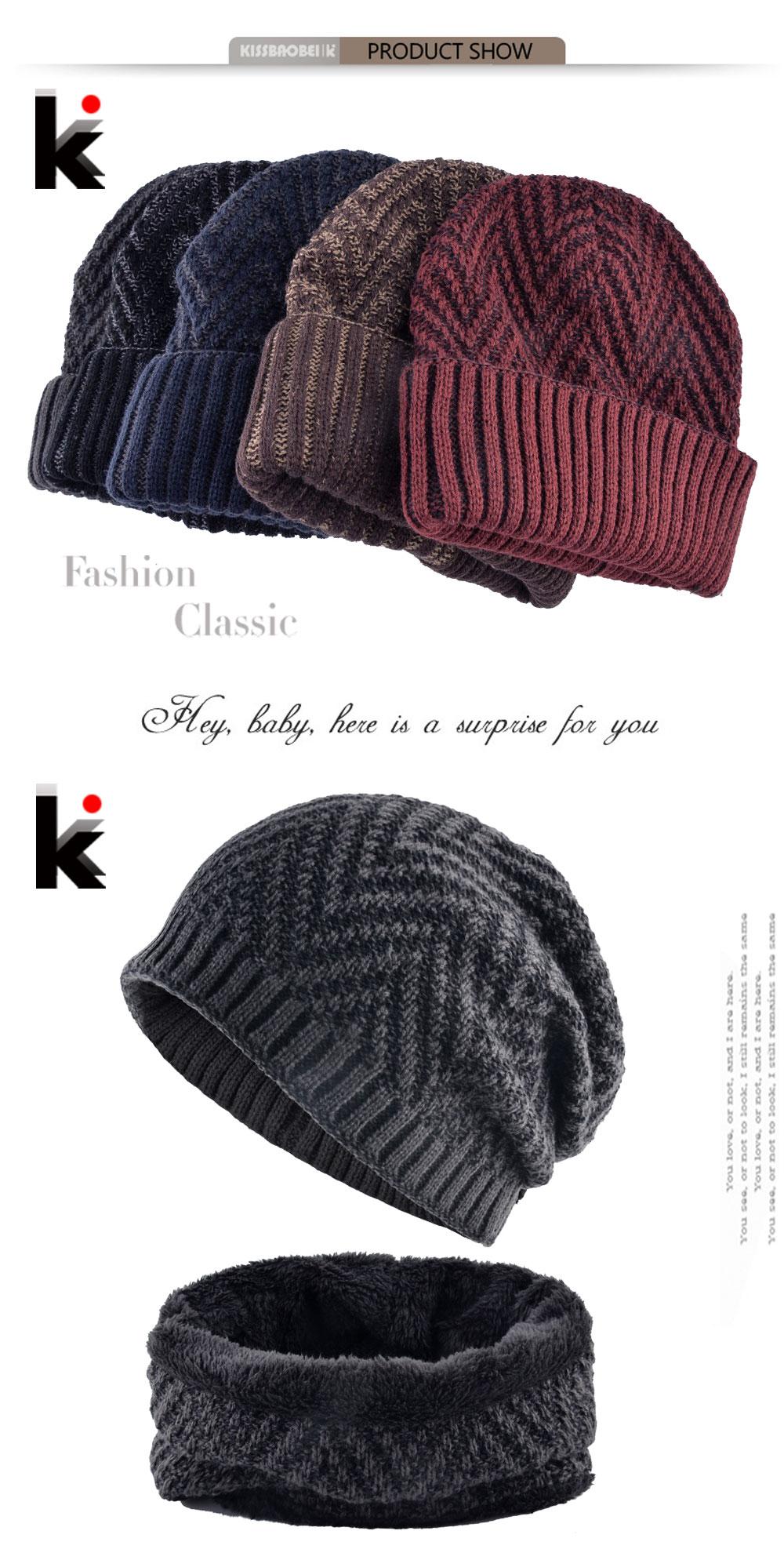 cf9947d570c Men s Hat And Scarf Sets Winter Knitted Thick Bonnet Caps Men Add Velvet  Beanies Hats Scarves Set Knitting Warm Skullies Gorro
