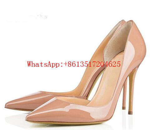 ФОТО 2017 Elegant Women Nude Black Patent Leather Pointy Evening Dress Pumps Slip On High Heels Ladies Party Shoes Women