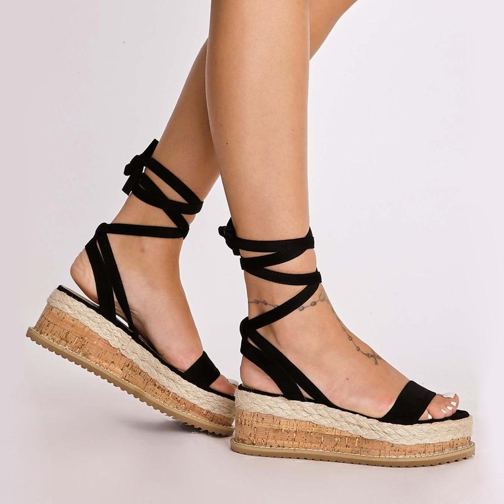 New Women Open Toe Ankle Strap Flat Beach Sandals Summer Platform Wedges Shoes