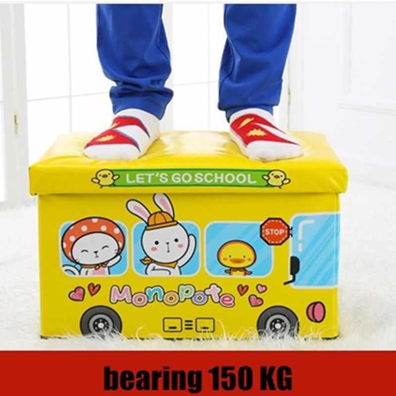 Стулья для надевания обуви хранения мультфильм складной табурет диваны скамья для кухни 50L водонепроницаемый ящик для хранения комнаты диван ног стул хранения