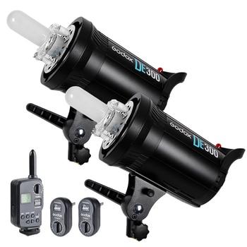 2PCS Godox DE300 300W Compact Studio Flash Strobe Light + FT-16 Trigger Kit 220V CD50