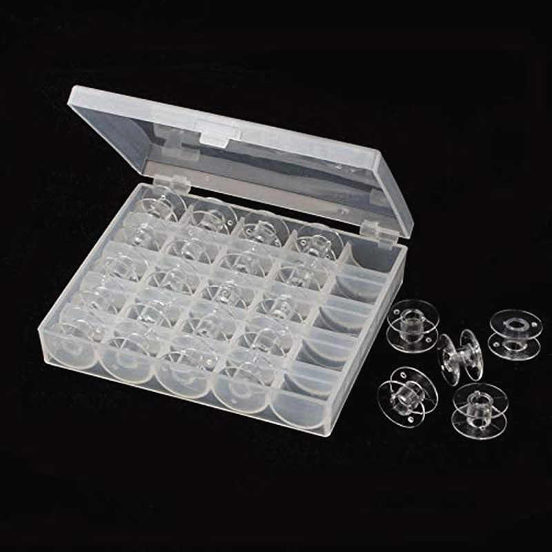25pcs/lot Clear Plastic Single Bobbin Sewing Machine Spools With Thread Storage Case Box For Home Sewing AA7650
