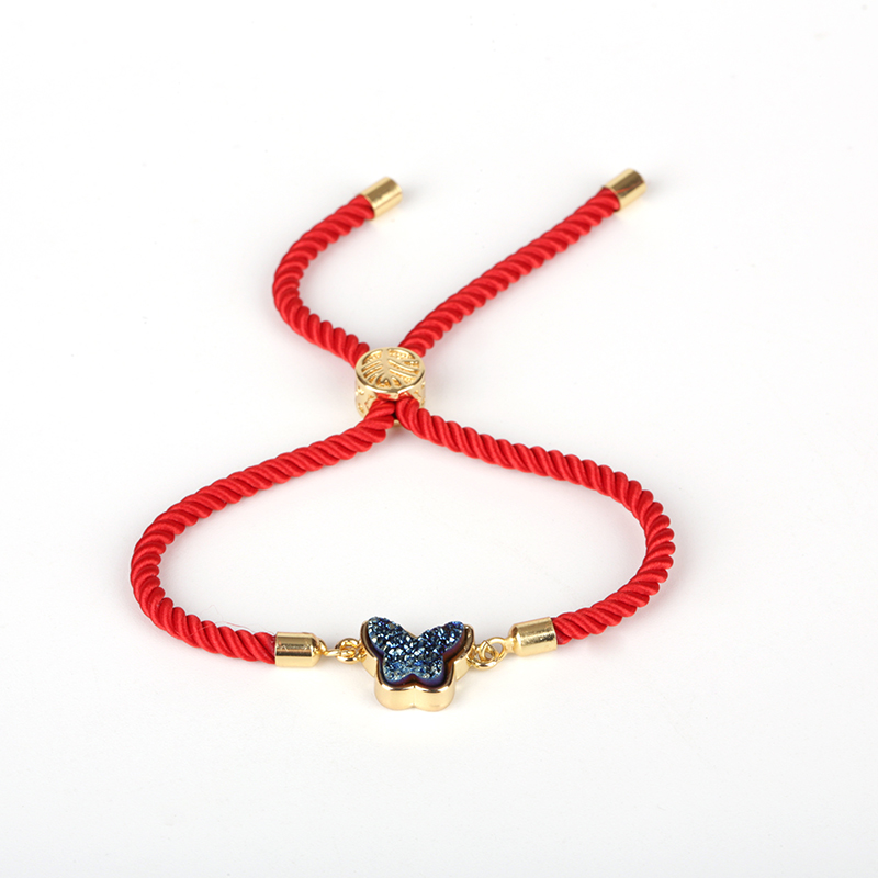 Kejialai Red Thread String Handmade Braided Rope Adjustable Bracelets for Women Men Kids Druzy Stone Butterfly Jewelry Gift