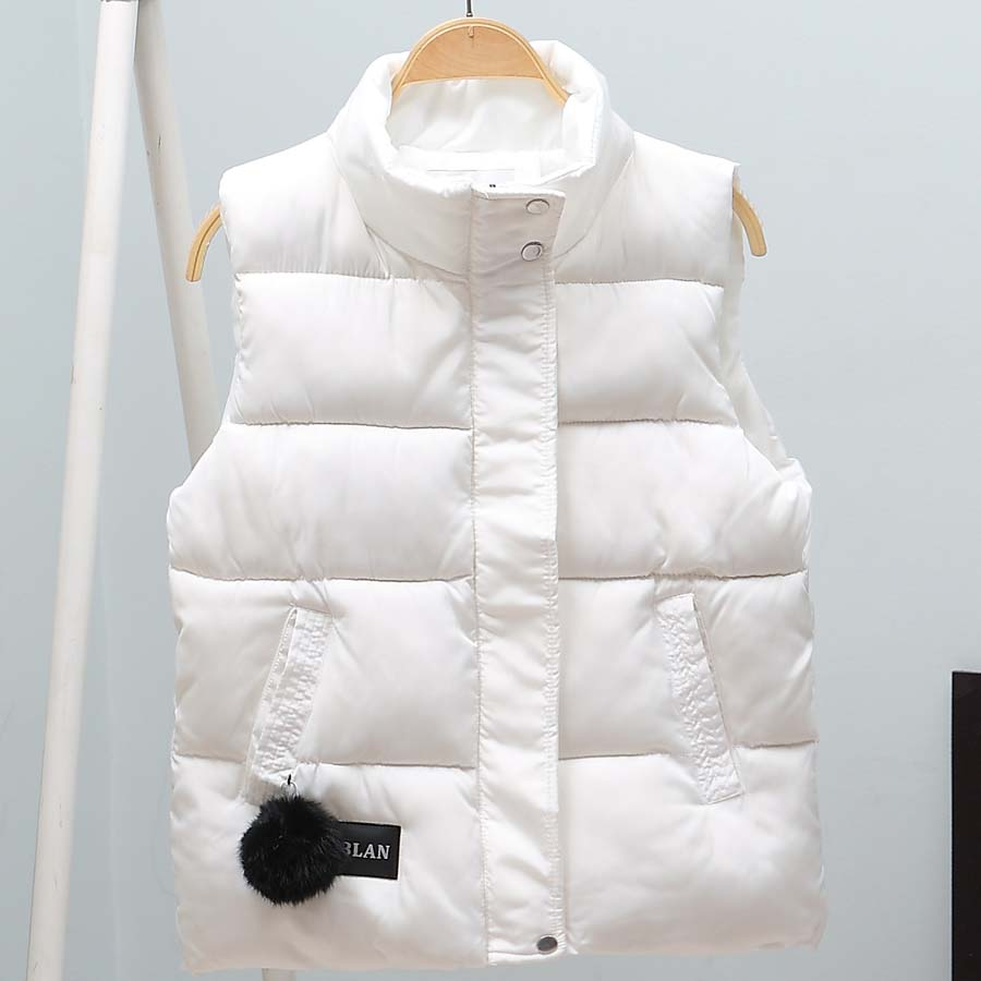 2019 Autumn Winter Women Vest Mandarin Collar Sleeveless Short Coat Women Jacket Waistcoat Female Plus Size Chalecos Para Mujer