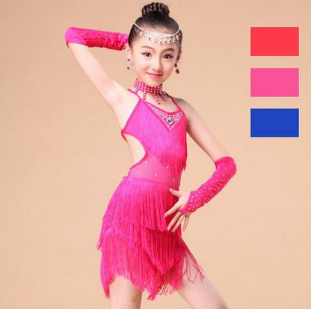 New 2017 Latin Dance Kids Competition Costumes Bachata Junior Red Ballroom Tango Latin Dresses Girls Fringe Latin Salsa Dresses