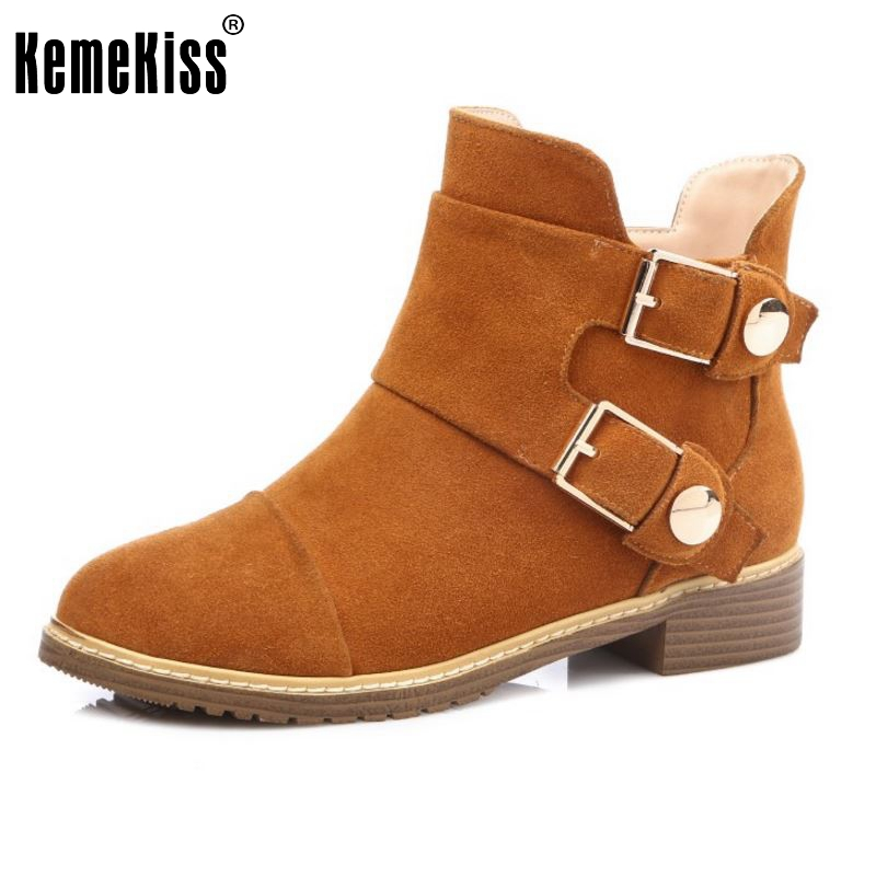 New Real Leather Ankle Boots Zip Fashion Autumn Winter Short Shoes Women Boots Fashion Round Toe Metal Shoes Size 31-45 yanicuding round toe women flock ankle booties metal short boots zip design luxury brand fashion runway star autumn shoes flats