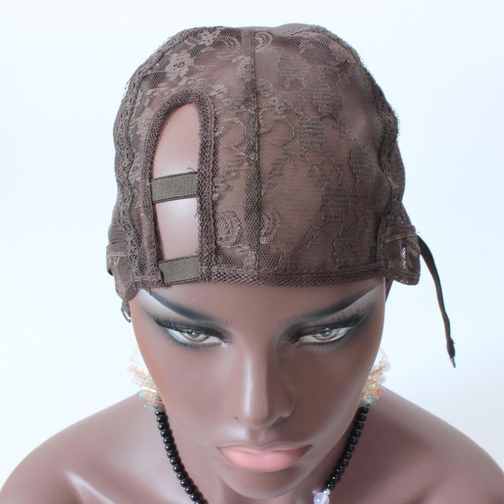 XS XL XXL Правая сторона U часть cap парик коричневый цвет внесении Cap Топ Стрейч Ткачество Крышку регулируемый Ремешок для изготовления парики