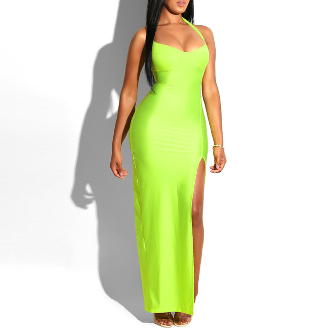 Tobinoone Kim Kardashian Summer Dress Women Sexy Backless Nightclub Party Maxi Dress Split Bodycon super bright neon outfits 3