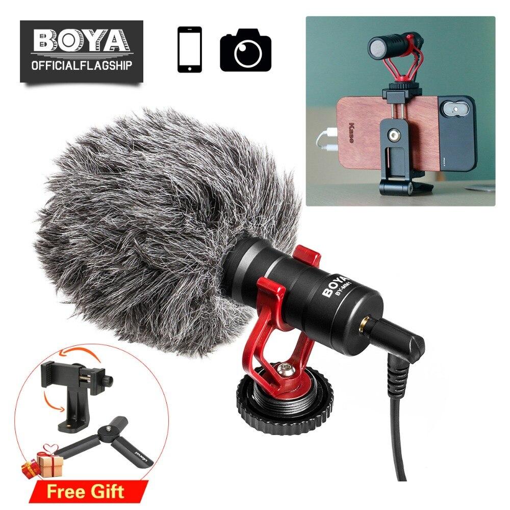 BOYA BY-MM1 Téléphone Vidéo Shotgun Microphone Vlogging Enregistrement Mic pour iPhone Nikon Canon DSLR Caméra/Lisse 4/DJI osmo Cardan