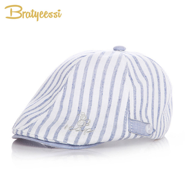 db4e42732e057 Cotton Linen Baby Hat Handsome Striped Beret Cap Baby Boy Accessories  Spring Summer Baby Sun Hat