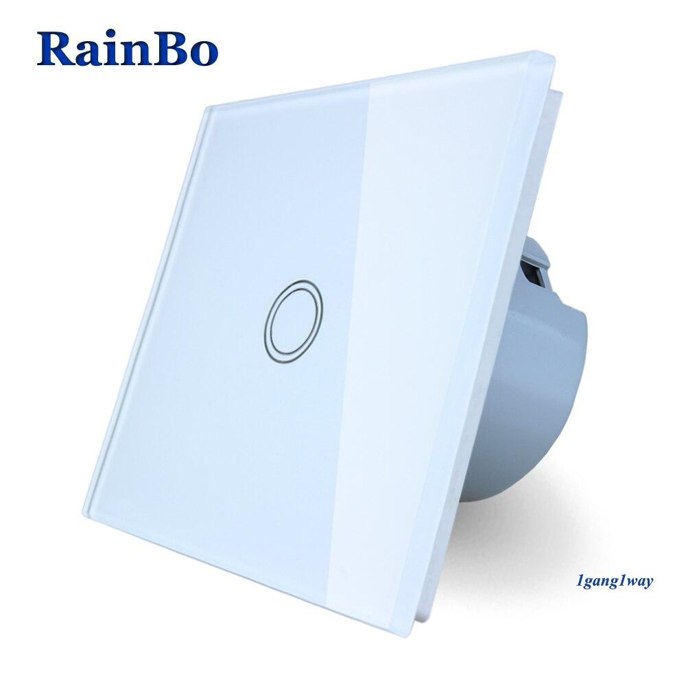 RainBo Interruptor táctil pantalla Panel de cristal interruptor de pared de la UE interruptor AC110 ~ 250 V luz 1gang1way LED lámpara A1911XW/B