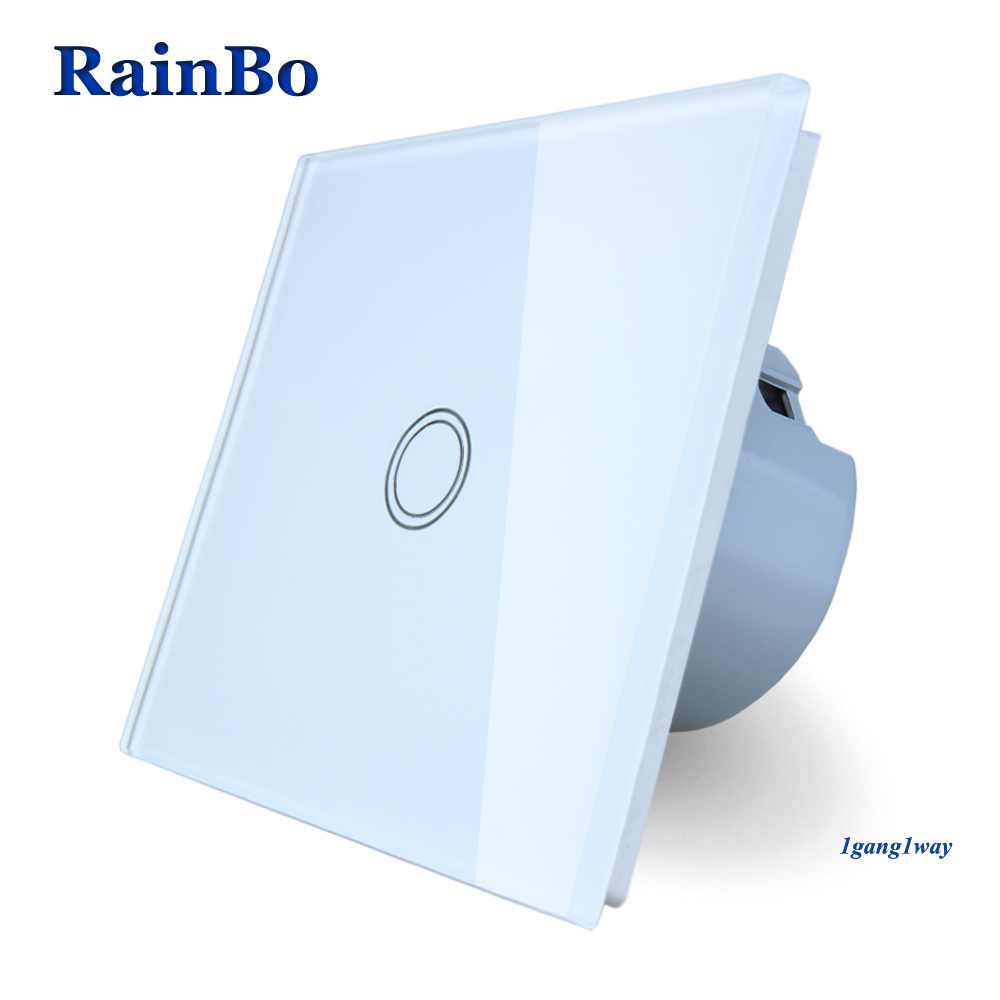 RainBo Touch Switch Screen Crystal Glass Panel Switch EU Wall Switch AC110~250V Light Switch 1gang1way for LED Lamp A1911XW/B touch switch screen crystal glass panel switches eu wall electrical touch light switch led switch 3gang 1way white for lamp