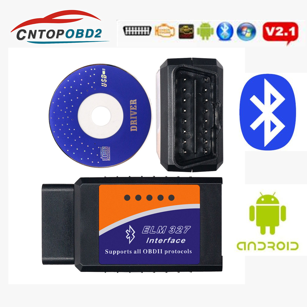 2019 <font><b>ELM327</b></font> V2.1 <font><b>Bluetooth</b></font> Interface Code Reader Ulme 327 v2.1 BT <font><b>Adapter</b></font> OBD2/<font><b>OBD</b></font> <font><b>II</b></font> Auto Auto Diagnose werkzeug auf Android Drehmoment image