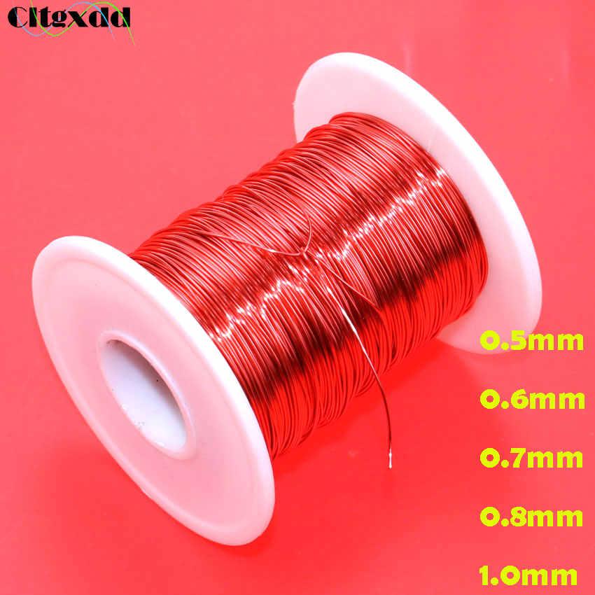 Cltgxdd 0.5mm/0.6mm/0.7mm/0.8mm/10mm QA fil émaillé polyuréthane rouge, fil d'enroulement rond en cuivre émaillé 1 m