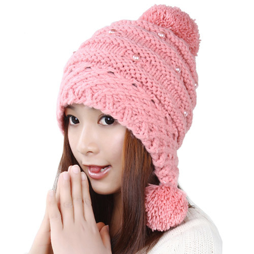 BomHCS Cute Autumn Winter Warm Ear Muff 100% Handmade Knitted Hat Women Beanie shenhua 9587 men s skeleton pu band automatic mechanical analog wrist watch silver black