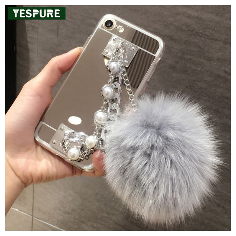 YESPURE Fancy Mirror Fur Ball Cover For Iphone 6/6S Metal Pearl Chain Bracelet Mobile Phone Case Cheap Handphone Accessories