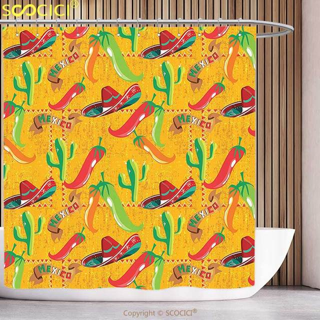 Stylish Shower Curtain Mexican Decorations Elements With Cactus Hat Chili Pepper Pattern Over Grunge Background Print