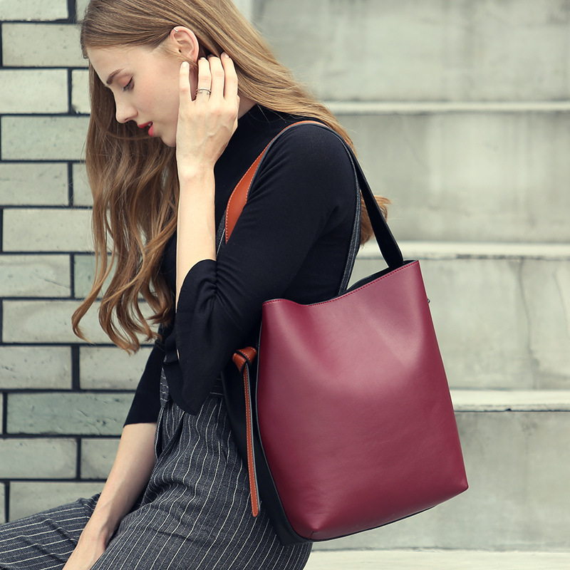 Real Leather Panelled Large Handbag Casual Shopping Bag Bucket Female Satchel Bag Women's Shoulder Bags Famous Brand Luxury Tote 2016 famous brand large real leather tote bag female cow leather handbag high end women vintage bag black casual top handle bags