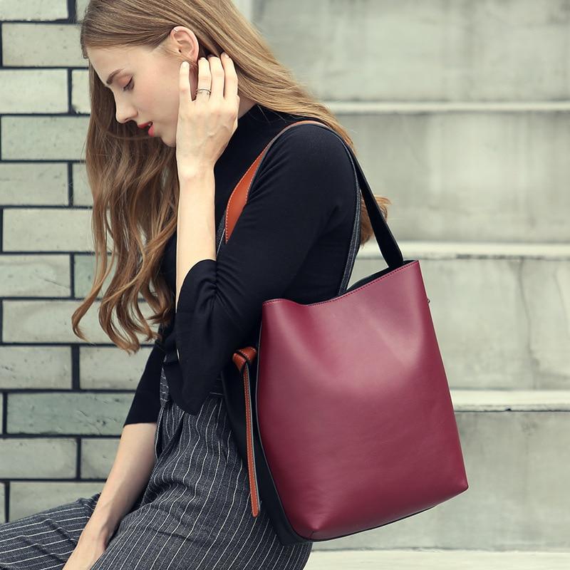 Здесь продается  Real Leather Panelled Large Handbag Casual Shopping Bag Bucket Female Satchel Bag Women
