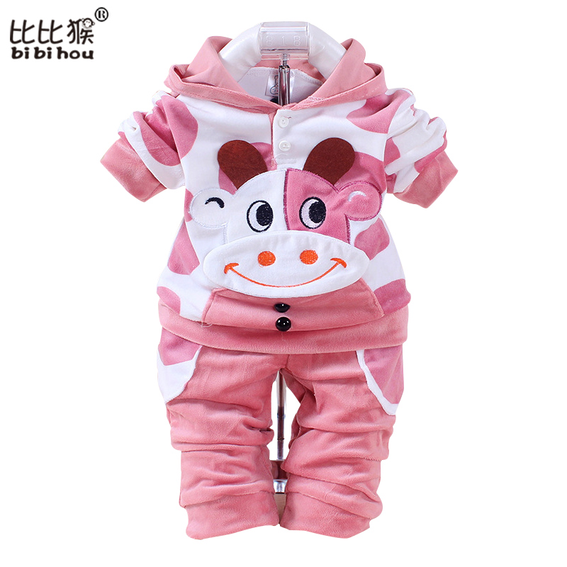 b4892529b Baby boys girls velvet children clothing set boy Cartoon hoodies pants suits  autumn newborn kids wear christmas costume Infantil
