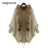 High Qulaity Cardigans Women Open Stitch Cashmere Sweaters with Fur for Women Warm Winter Ladies Cardigans K169 35