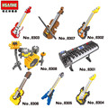 HSANHE DIY Musical Instrument Mini Building blocks Models Guitar Bass Drum Kit Keyboard Violin Craft Present Gift