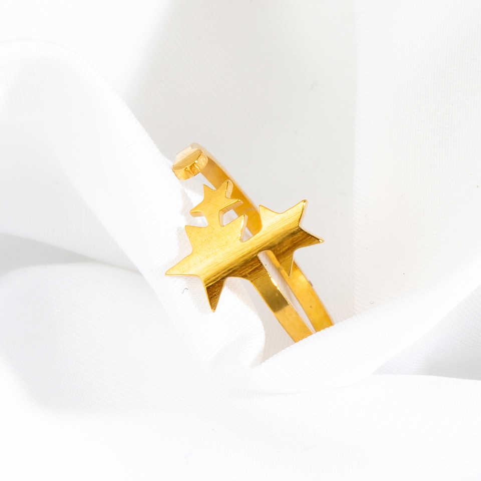 2019 ใหม่สแตนเลสสตีลแหวนผู้หญิงคลาสสิก Star Golden Silver สีแหวนแฟชั่นเครื่องประดับงานแต่งงานของขวัญปรับขนาดได้
