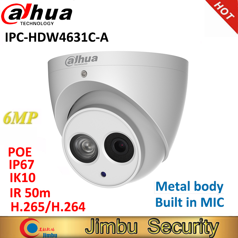 IPC HDW4631C A Dahua IP Camera 6MP full metal body H 265 Built in IR50m MIC