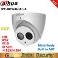 IPC-HDW4631C-A Dahua IP камера 6MP полностью металлический корпус H.265 встроенный IR50m микрофон IK10 IP67 CCTV купольная камера безопасности HDW4631C-A