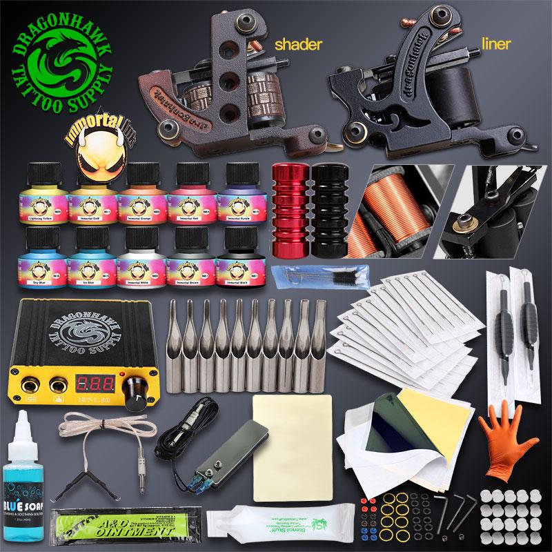 Professional Complete Tattoo Kits Set Tattoo Machine Power Supply 2 guns Immortal Color Inks Tattoo Supplies