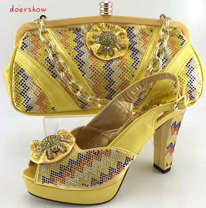 doershow 2017 Italian Shoes With Matching Bags Wedding Shoes And Bag To Match Stones African Shoe And Bag Set For Part!PQS1-20 doershow fast shipping fashion african wedding shoes with matching bags african women shoes and bags set free shipping hzl1 29