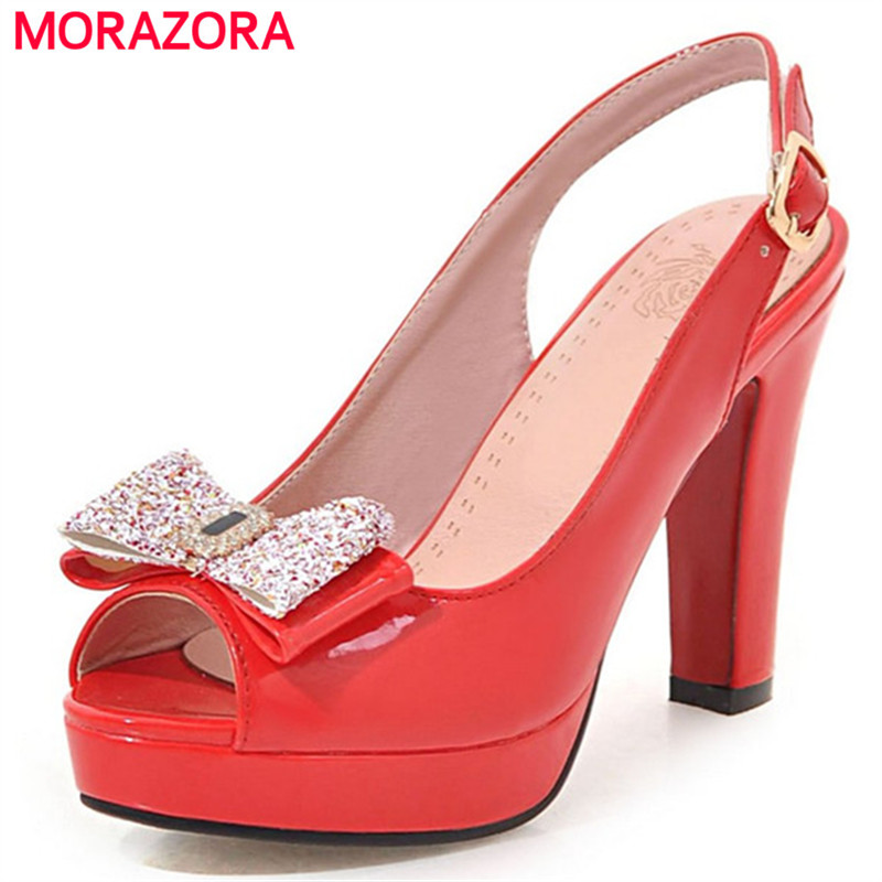 MORAZORA Slingbackds shoes woman in summer women pumps high heels shoes fashion sexy lady platform shoes party big size 34-43 morazora women patent leather pumps sexy lady high heels shoes platform shallow single elegant wedding party big size 34 43
