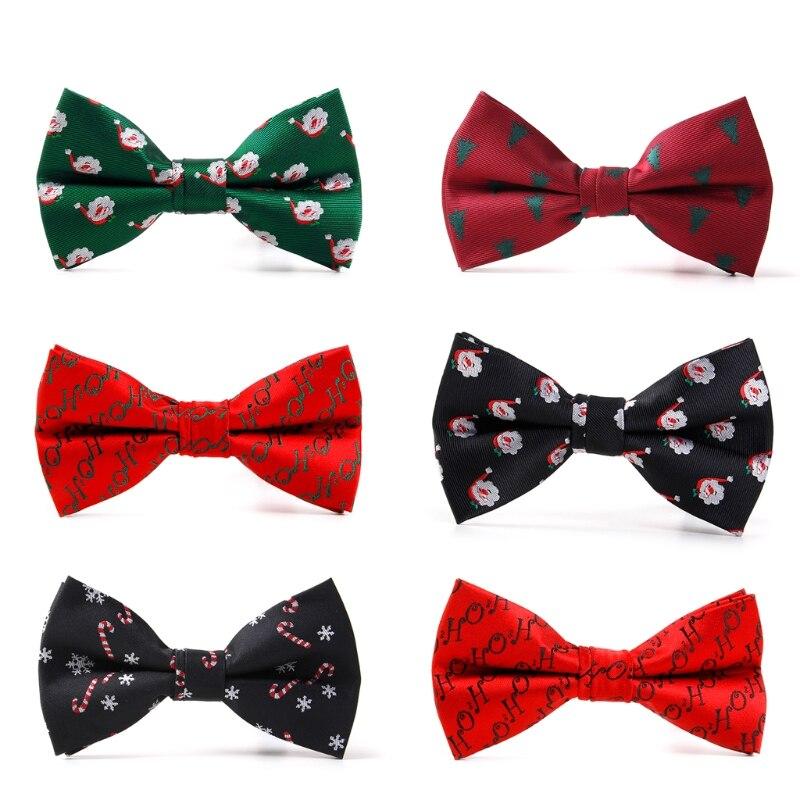 Men Christmas Holiday Bow Tie Pre-tie Adjustable Length Christmas Tree Snowflake