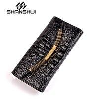 New Crocodile Leather Purses Women Wallets Luxury Hasp Long Retro Zipper Woman Purse Female Wallet Cell